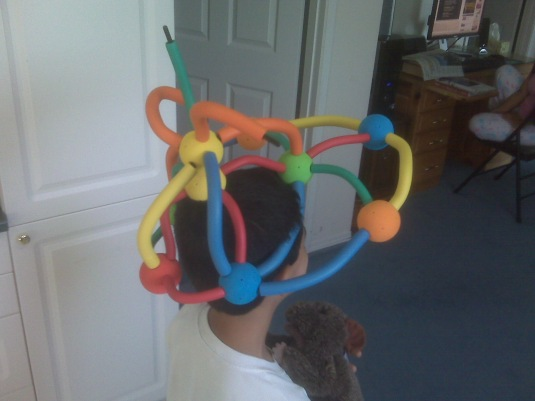 He enjoys this  FLEXOAM -foam building and sculpting system for kids  and turn it into a crown